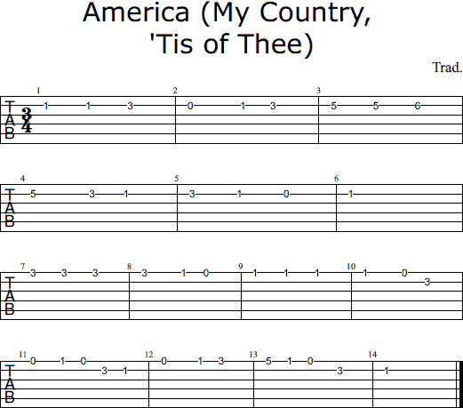 America notes and tabs
